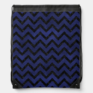 CHEVRON9 BLACK MARBLE & BLUE LEATHER (R) DRAWSTRING BAG