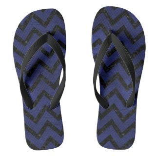 CHEVRON9 BLACK MARBLE & BLUE LEATHER (R) FLIP FLOPS