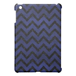 CHEVRON9 BLACK MARBLE & BLUE LEATHER (R) iPad MINI COVERS