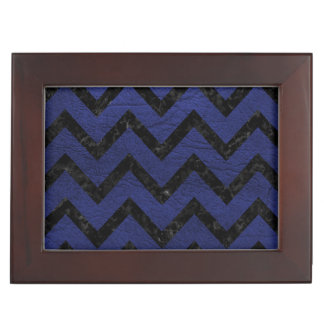 CHEVRON9 BLACK MARBLE & BLUE LEATHER (R) KEEPSAKE BOX