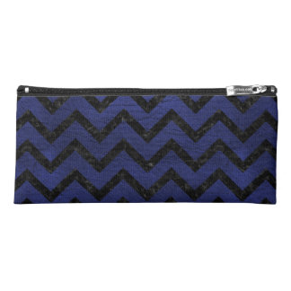 CHEVRON9 BLACK MARBLE & BLUE LEATHER (R) PENCIL CASE