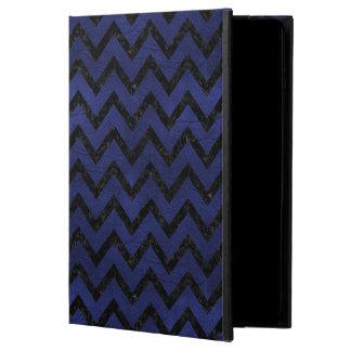 CHEVRON9 BLACK MARBLE & BLUE LEATHER (R) POWIS iPad AIR 2 CASE