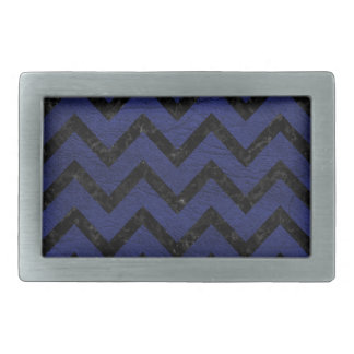 CHEVRON9 BLACK MARBLE & BLUE LEATHER (R) RECTANGULAR BELT BUCKLES