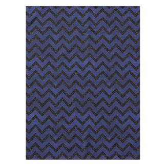 CHEVRON9 BLACK MARBLE & BLUE LEATHER (R) TABLECLOTH