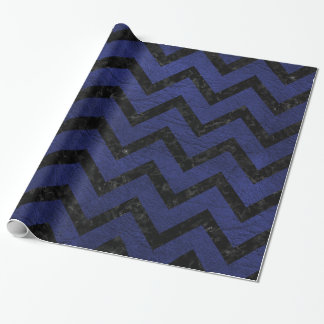 CHEVRON9 BLACK MARBLE & BLUE LEATHER (R) WRAPPING PAPER