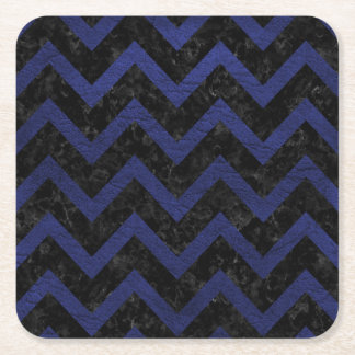 CHEVRON9 BLACK MARBLE & BLUE LEATHER SQUARE PAPER COASTER