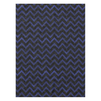CHEVRON9 BLACK MARBLE & BLUE LEATHER TABLECLOTH