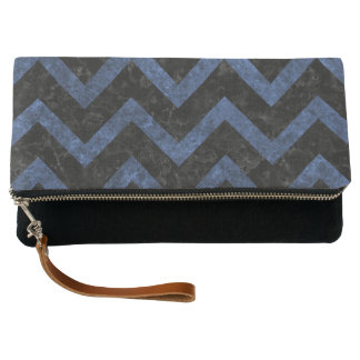 CHEVRON9 BLACK MARBLE & BLUE STONE CLUTCH