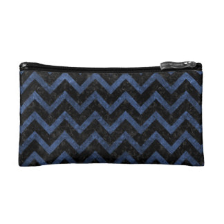 CHEVRON9 BLACK MARBLE & BLUE STONE COSMETIC BAG