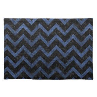 CHEVRON9 BLACK MARBLE & BLUE STONE PLACEMAT