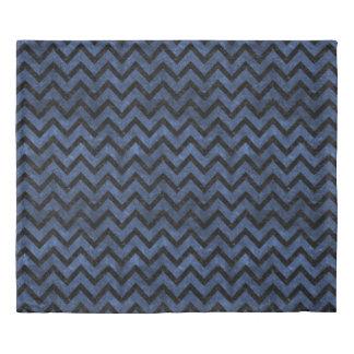 CHEVRON9 BLACK MARBLE & BLUE STONE (R) DUVET COVER
