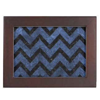 CHEVRON9 BLACK MARBLE & BLUE STONE (R) KEEPSAKE BOX