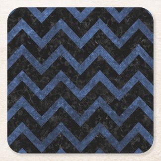 CHEVRON9 BLACK MARBLE & BLUE STONE SQUARE PAPER COASTER