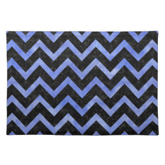CHEVRON9 BLACK MARBLE & BLUE WATERCOLOR PLACEMAT