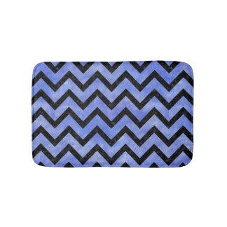CHEVRON9 BLACK MARBLE & BLUE WATERCOLOR (R) BATH MAT