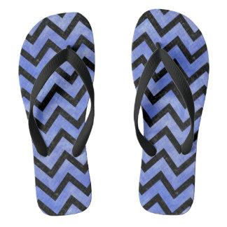 CHEVRON9 BLACK MARBLE & BLUE WATERCOLOR (R) FLIP FLOPS