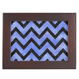 CHEVRON9 BLACK MARBLE & BLUE WATERCOLOR (R) KEEPSAKE BOX