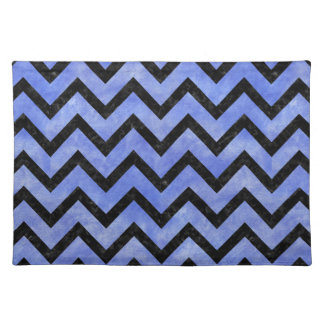 CHEVRON9 BLACK MARBLE & BLUE WATERCOLOR (R) PLACEMAT