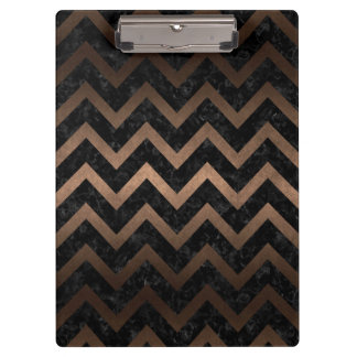 CHEVRON9 BLACK MARBLE & BRONZE METAL CLIPBOARD