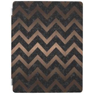 CHEVRON9 BLACK MARBLE & BRONZE METAL iPad COVER