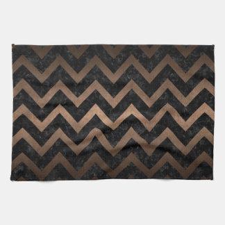 CHEVRON9 BLACK MARBLE & BRONZE METAL KITCHEN TOWEL