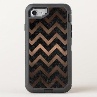 CHEVRON9 BLACK MARBLE & BRONZE METAL OtterBox DEFENDER iPhone 7 CASE