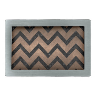 CHEVRON9 BLACK MARBLE & BRONZE METAL (R) RECTANGULAR BELT BUCKLES