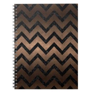 CHEVRON9 BLACK MARBLE & BRONZE METAL (R) SPIRAL NOTEBOOK