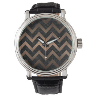 CHEVRON9 BLACK MARBLE & BRONZE METAL WATCH