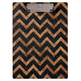 CHEVRON9 BLACK MARBLE & BROWN STONE CLIPBOARD