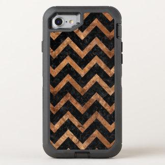 CHEVRON9 BLACK MARBLE & BROWN STONE OtterBox DEFENDER iPhone 8/7 CASE