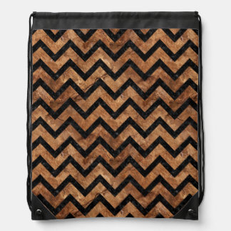 CHEVRON9 BLACK MARBLE & BROWN STONE (R) DRAWSTRING BAG