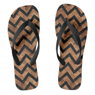 CHEVRON9 BLACK MARBLE & BROWN STONE (R) FLIP FLOPS