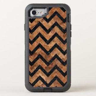 CHEVRON9 BLACK MARBLE & BROWN STONE (R) OtterBox DEFENDER iPhone 7 CASE