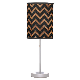CHEVRON9 BLACK MARBLE & BROWN STONE TABLE LAMP
