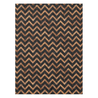 CHEVRON9 BLACK MARBLE & BROWN STONE TABLECLOTH