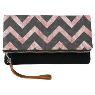 CHEVRON9 BLACK MARBLE & RED & WHITE MARBLE CLUTCH