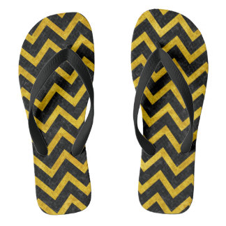 CHEVRON9 BLACK MARBLE & YELLOW MARBLE FLIP FLOPS