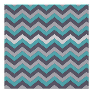chevron 02 zigzag aqua silver poster