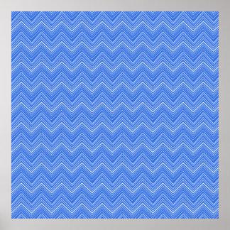 chevron 03 zigzag blue poster