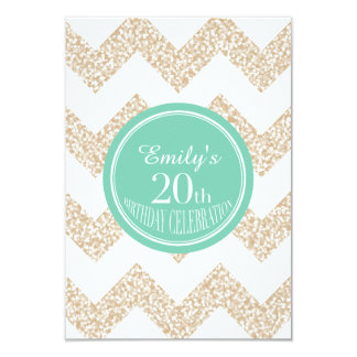 Chevron 20th Birthday Party Choose Color Flat Card