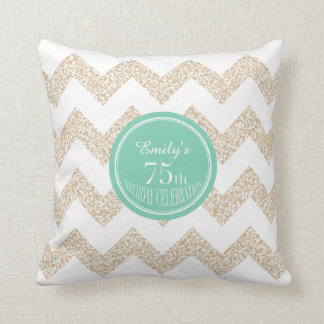Chevron 75th Birthday Celebration Pillow with name