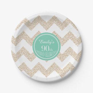 Chevron 90th Birthday Paper Plate Choose Color