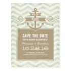 Chevron anchor vintage nautical save the date postcard