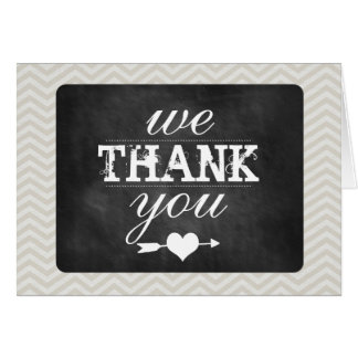Chevron and Chalkboard Thank You Card