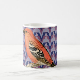 Chevron and Vintage Pink Bird Coffee Mug