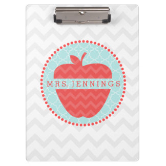 Chevron Apple Quatrefoil Teacher Clipboard
