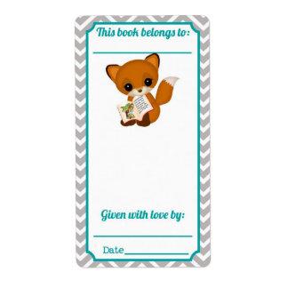 Chevron AQUA Fox Bookplate
