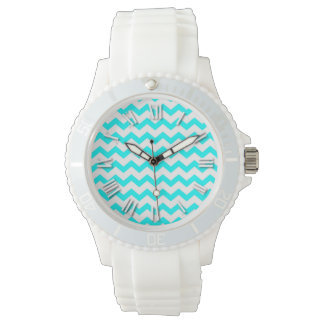 Chevron Aqua Teal and White ZigZag Zig Zags Watch