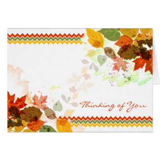Chevron Autumn Fall Leaves Thinking of You Card